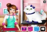 لعبة تنظيف قطة باربي البيضاء