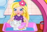 لعبة تنظيف القطة المشاكسة البيضاء